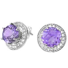 Cute! Perfect genuine amethyst stone give these precious earrings a bright glow. Prepare to shine when you wear this 0.925 sterling silver with platinum earrrings. Featuring an round-cut, 1.51 carat, genuine floral lavender amethyst stone surrounded by double genuine white diamond, these earrings looks special. Our Price : $15.99
