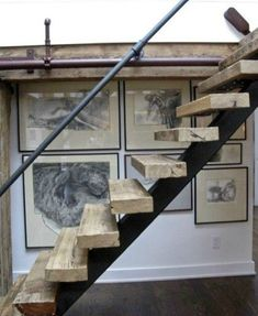 Rustic industrial/modern floating stairs with metal piping used as a handrail and detailing for split levels. Open Stairs, Loft Stairs, Floating Stairs, House Stairs, Steel Stairs, Pipe Railing, Stair Railing, Railing Ideas, Iron Staircase