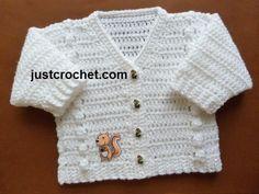 fjc110-V-Neck Cardigan Baby Crochet Pattern | Craftsy