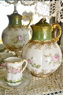 Limoges porcelain chocolate pot, matching cup and saucer