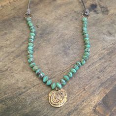 "Turquoise & Bronze Mermaid Necklace, Hand Knotted Bohemian Jewelry ""Beach Chic"" $55.00"