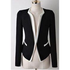 Casual Splicing Contrast Color Long Sleeve Blazer For Women, BLACK, M in Blazers | DressLily.com