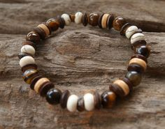 Tigers Eye and White Howlite Semi Precious Stone by cainersbliss