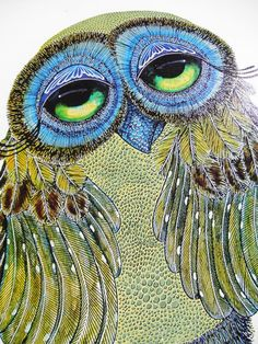 "VTG MID-CENTURY MODERN RETRO!! GLENN HEATH GREEN BIG EYE OWL LITHO!! 12""X 20""!! #Modernism"