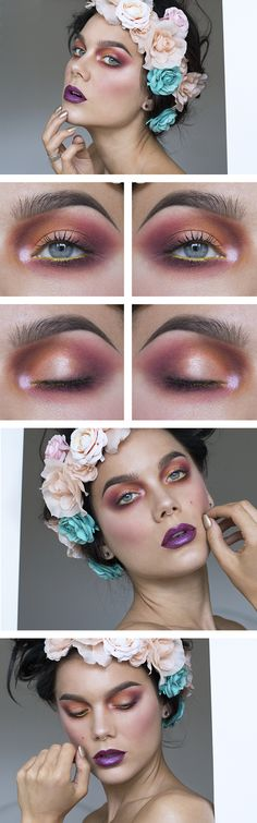 Warm red and orange eyeshadow look