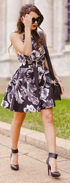 Black And White Botanical Backless Halter Skater Dress