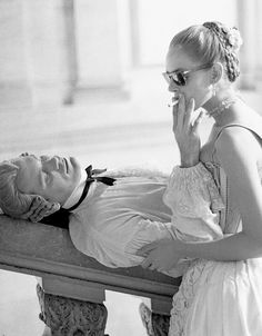 John Malkovich and Uma Thurman on the set of Dangerous Liaisons, 1988
