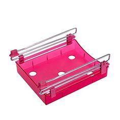 JackLook Multipurpose Fridge Storage Sliding Drawer Freezer Storage Shelf Refrigerator Organizer Space Saver Shelf Red