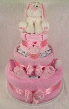 Make a pink nappy cake for Charlotte's Christening! :-)