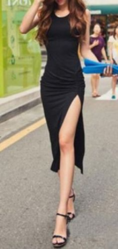 Chic Easy Fashion! LBD + Strappy Sandals! Sexy Scoop Neck Sleeveless Pure Color Women's High Slit Dress #Street #Style #Fashion #Simple #Easy #Sexy #Summer #Style