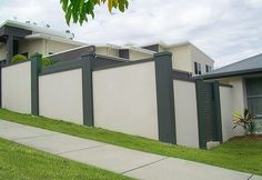 We do a very large range of estate solid wall fences for both privacy and wind protection fencing. Fence Wall Design, Exterior Wall Design, Modern Fence Design, Front Yard Design, Modern House Design, Modern Front Porches, Compound Wall, Outdoor Living Rooms, Gate House