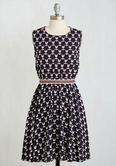 Blurbs de Provence Dress - Mid-length, Woven, Black, Print, Casual, A-line, Sleeveless, Good