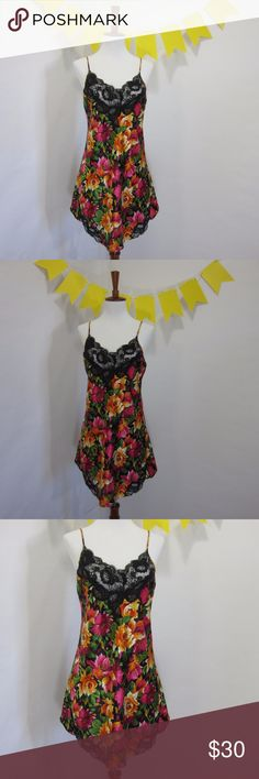 """VTG VS Sexy Silky Floral Lingerie Slip Nighty LL15 Excellent gently worn condition, no stains, holes, or pilling. Slight wear on slace (see pic 8). Vintage Gold and White Tag (late 70s/80s)Victoria Secret. Adjustable straps. Gorgeous bright colors rose print. [Size S Runs large/loose Bust 36"""" Length 28""""]  Orange, pink, and green.   // No holds, trades, or modeling. Colors may vary on screen. Please use measurements. Offers welcome.   *Last characters in title is inventory number. Victoria's…"""