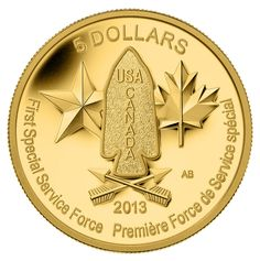 Coin honoring the First Special Service Force: Royal Canadian Mint 2013 $5 Pure Gold Coin - Devil's Brigade $649.95