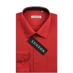 Verno Luxton Big Men's Classic Fashion Fit Dress Shirt, Size: 2XL 18/34, Red
