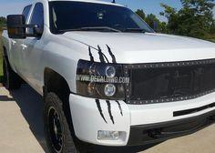 DecalDino Truck Headlight Scar Kit - Chevy Silverado Pickup Chevrolet Ford Dodge F150 Stickers