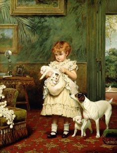 """Girl with Dogs,"" 1893 -- Charles Burton Barber (1845 - 1894, English) -- to be more precise, it looks like the little girl has a litter of Jack Russell pups tied up in a cloth bag, the bitch keeping close to wherever they may be transported."