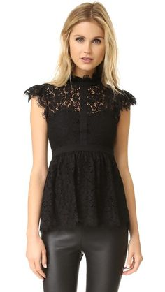 Rachel Zoe | High Neck Paneled Lace Blouse in black