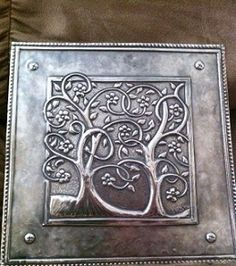 "Some years ago, while I was in our booth at CHA I met artist Landis Lundquist. I showed him the main of "" Repujado "" (metal embossin. Pewter Art, Pewter Metal, Metal Embossing, Metal Stamping, Metal Projects, Metal Crafts, Art Projects, Feuille Aluminium Art, Aluminum Foil Art"