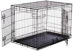 AmazonBasics Double-Door Folding Metal Dog Crate - Medium (36x23x25 Inches)