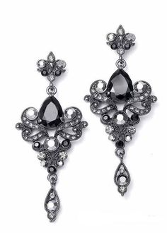 Mariell's vintage earrings feature a sparkling jet CZ pear stone and elegant pave scrolls for a sophisticated look. Prom, Wedding, Mother of the Bride, Bridesmaid Jewelry ***website only***