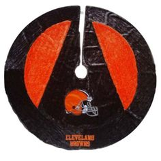 $38.95-$60.00 Cleveland Browns soft plush Christmas tree skirt in vibrant football team colors and embroidered NFL team logo. Perfect for the holidays and game room decor. Made by Forever Collectibles.