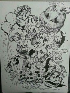I wish they had manga about fnaf Five Nights At Freddy's, Fnaf Coloring Pages, Good Horror Games, Fnaf Sister Location, Fnaf Drawings, Freddy Fazbear, Arte Horror, Freddy S, Ship Art
