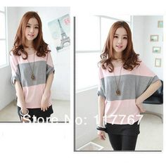 Loose batwing short sleeve t-shirt: light pink and grey striped