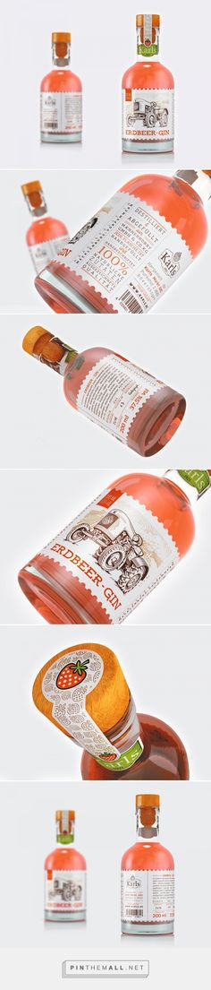 Erdbeer-Gin packaging design by Lonely Bird Studio - http://www.packagingoftheworld.com/2017/08/erdbeer-gin.html