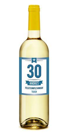Número Azúl  Vino Blanco Personalizado para #Cumpleaños