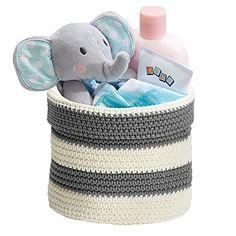Knit Baby Nursery Closet Organizer Bin for Lotion Medicine Bibs Books Toys  Small GrayIvory Shop Storage, Office Storage, Kitchen Storage, Dresser Top, Closet Dresser, Baby Nursery Closet, Nursery Closet Organization, Bookshelves Kids, Book Shelves