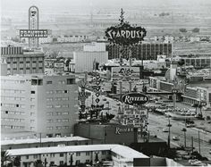 """The Las Vegas Strip looking south showing the Riveria, the Stardust, and the Frontier Hotel, circa late 1970s. Image is part of the UNLV Libraries """"Dreaming the Skyline"""" digital collection. #WhatAView Las Vegas Love, Las Vegas Photos, Las Vegas Strip, Vegas Casino, Las Vegas Nevada, Atlantic City Casino, Cities, Old Vegas, Vintage Photographs"""