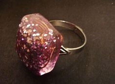 Pink Glittery Orgonite Ring