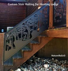 Custom Stair Railing for Hunting Lodge. What can we design for your cabin, lodge or home? We create amazing works of art in metal to be used as railings for decks, balconies, stairs or lofts. Murals and gates too!  See www.NatureRails.com for more inspiration.