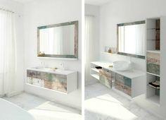 awesome Idée décoration Salle de bain - Meuble vasque salle de bain en bois patiné et blanc mat...