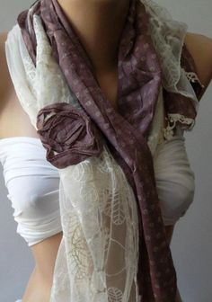 Lilac  Elegance Shawl / Scarf with Lace Edge by womann on Etsy,
