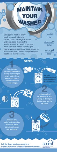 Machine Maintenance Tip: Give your washer a little TLC by cleaning it tw. -Washing Machine Maintenance Tip: Give your washer a little TLC by cleaning it tw. House Cleaning Tips, Deep Cleaning, Spring Cleaning, Cleaning Hacks, Cleaning Supplies, Home Renovation, Clean Washing Machine, Washing Machines, Laundry Hacks