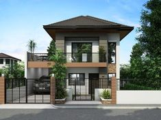 is a Two Story House Plan with 3 bedrooms, 2 baths and 1 garage.] is a Two Story House Plan with 3 bedrooms, 2 baths and 1 garage. Two Story House Design, 2 Storey House Design, Duplex House Design, Simple House Design, Modern House Design, House Design Plans, Modern Zen House, Modern House Plans, Two Storey House Plans