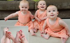 Triplets are so identical parents have to colour code their toe nails