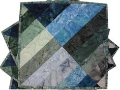 Quilted Batik Placemats in Blue and Sage Green by Sieberdesigns