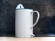 Circa 1920 , french white enamel pot, enamelware, shabby chic white