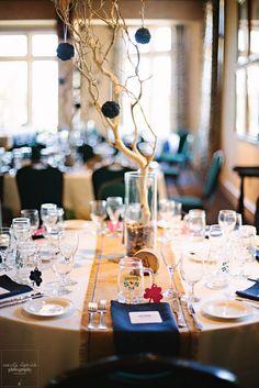 Tree branch table centerpiece | Wedding Table Decor Ideas | Emily Lapish Photography