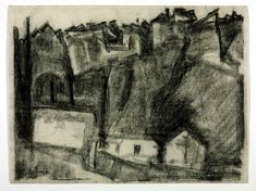 #charcoal #drawing - The City on the Rock, Evening, Ronda by David Bomberg