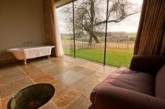 A clawfoot bath with a view.. Enjoy a warm bath whilst enjoying the views of the British countryside..