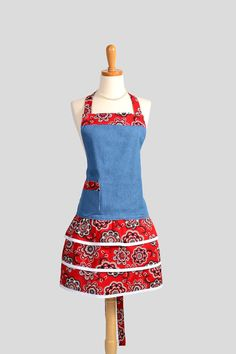 Ruffled Retro Apron Flirty Full Womens Apron in by CreativeChics, $40.00