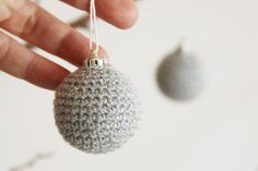 Grey Christmas tree balls  Set of two crocheted by @Sarah Self By Meri #handmade #Christmas #etsy