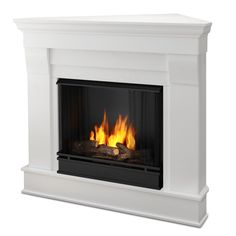 The Chateau Corner indoor fireplace features the clean lines and classic styling familiar to stone mantels, realized in wood. It includes a mantel, cast-concrete log, and screen kit, and emits up to 9,000 BTU's of heat per hour.