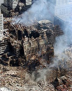 The tower ruins smoldered for 99 days after the terrorists attacked.