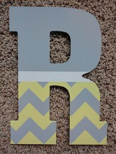 Hand Painted Chevron Wooden Letters by WallApproved - Wood Letters Chevron Wooden Letters, Painting Wooden Letters, Canvas Letters, Diy Letters, Painted Letters, Hand Painted, Wood Letters Decorated, Alphabet Letters, Canvas Art