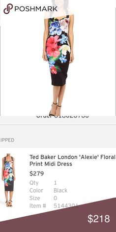 Ted Baker Dress Ted Baker Alexia Floral Print Midi Dress. NWT, purchased from Nordstrom- never worn. Ted Baker London Dresses Midi